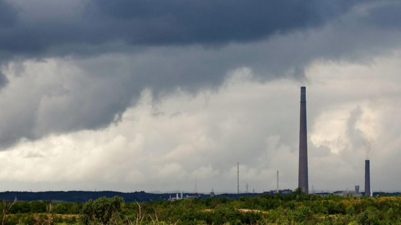 smoke stacks on the horizon in Sudbury, Ontario