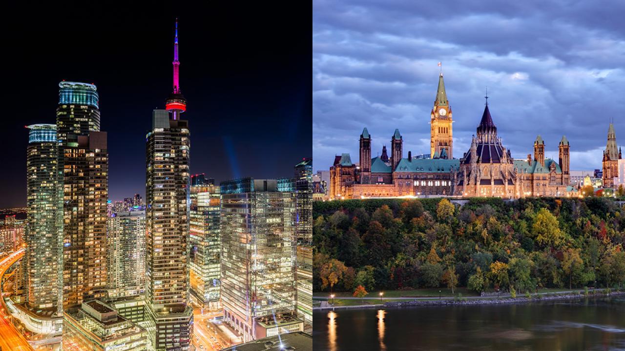 Toronto skyline and Parliament Hill in Ottawa