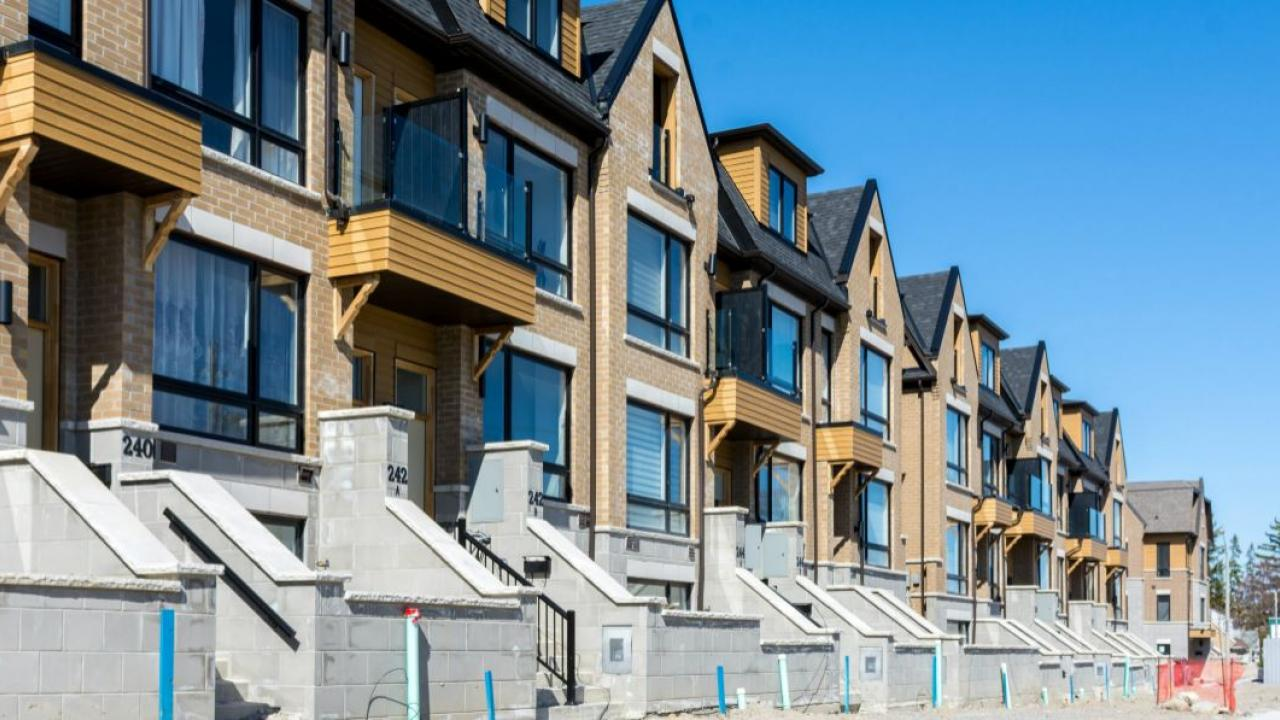 a row of newly-built townhouses in Toronto
