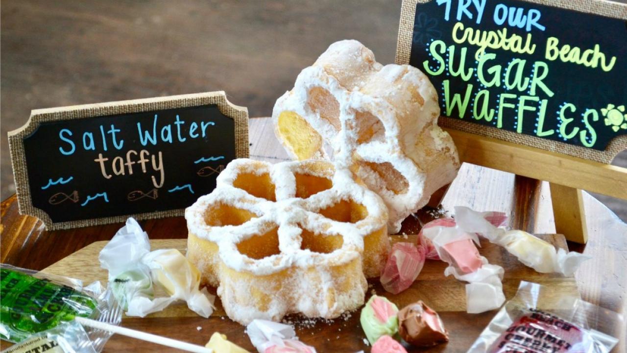 sugar waffles, candy suckers and taffy