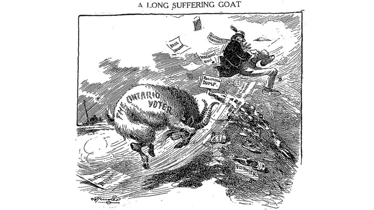 an archival election cartoon from 1919