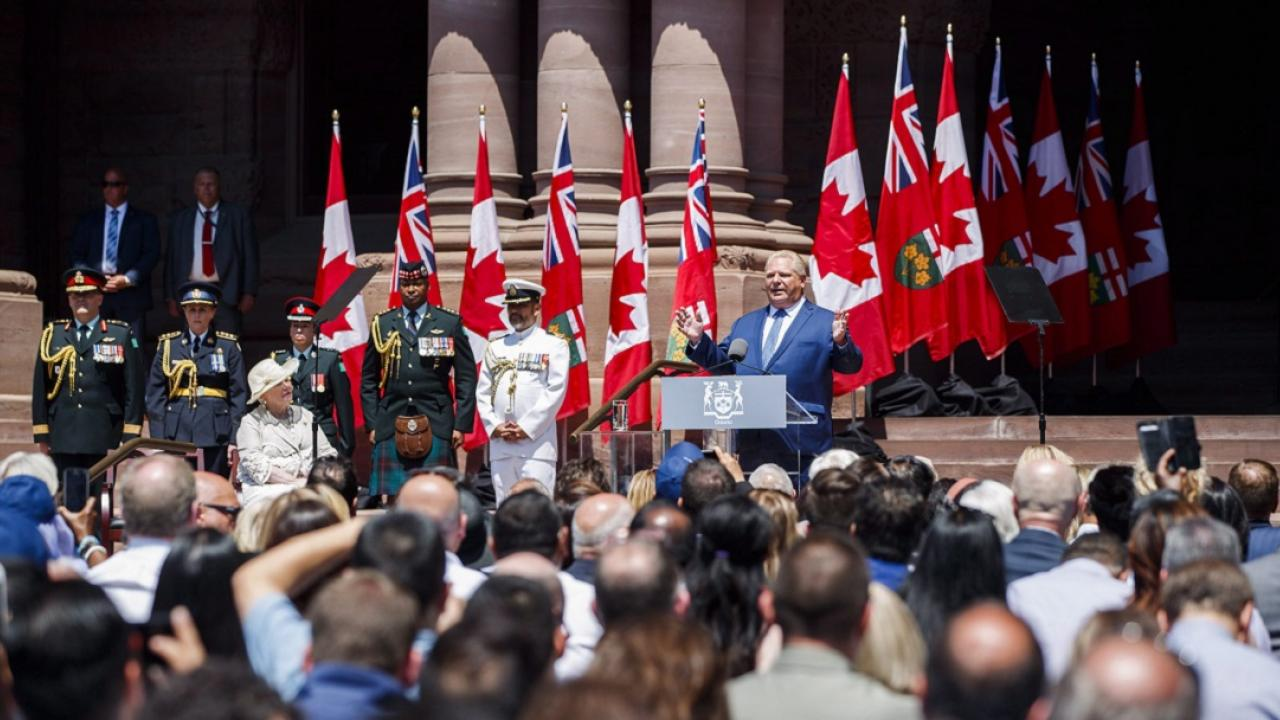 Premier Doug Ford speaking during his swearing in ceremony