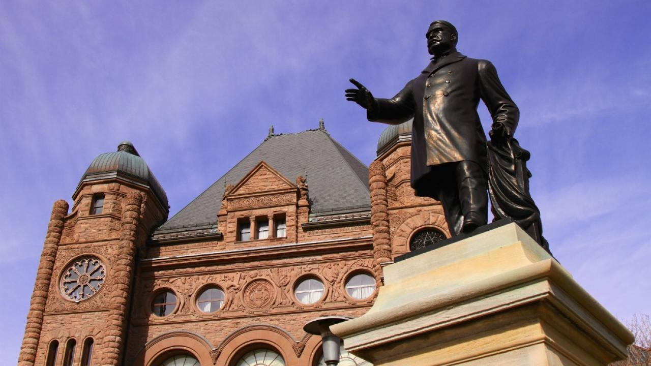 Statue of James Whitney outside of Queen's Park