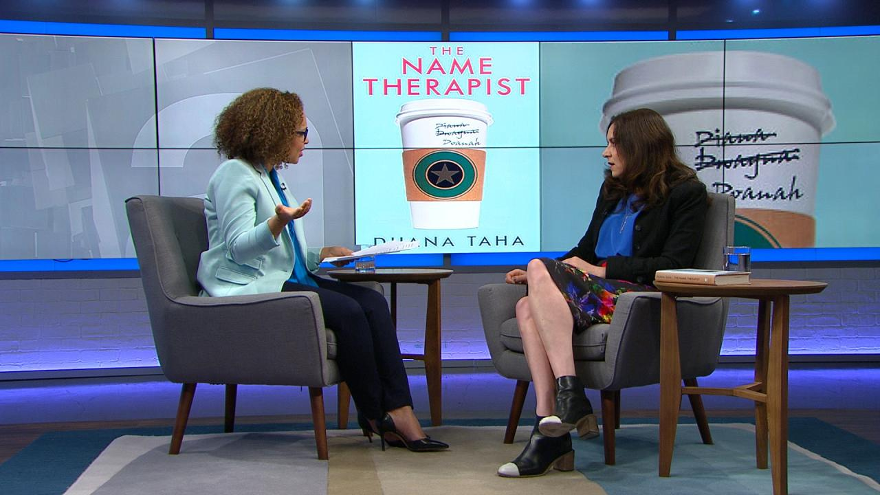 Host Nam Kiwanuka and author Duana Taha on set at The Agenda in the Summer