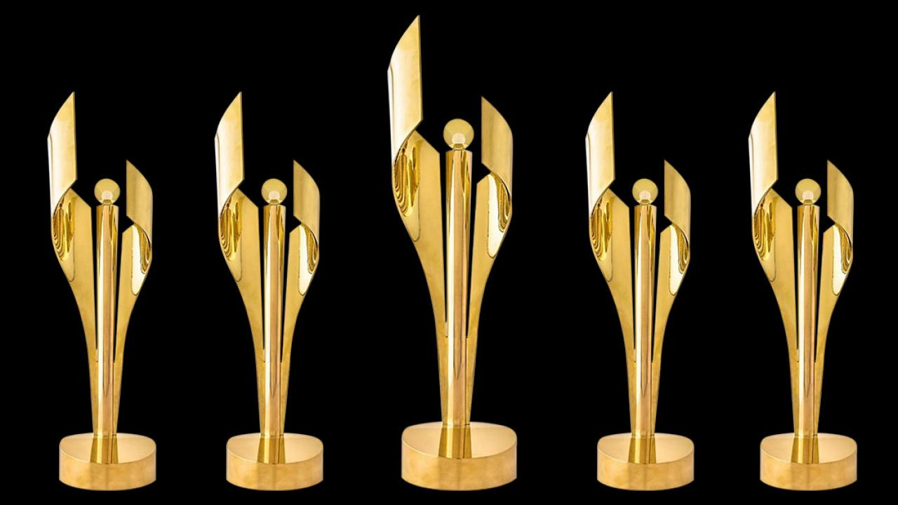 Five Canadian Screen Awards statuettes
