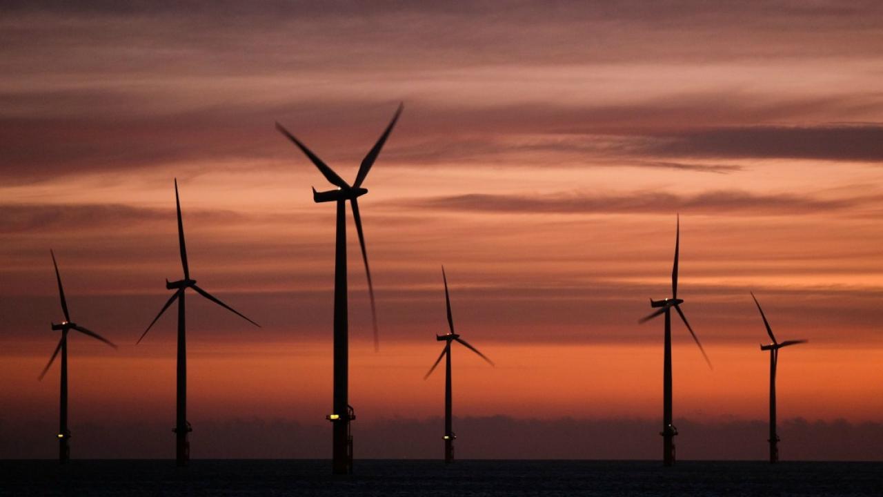 wind turbines on the lake at sunrise