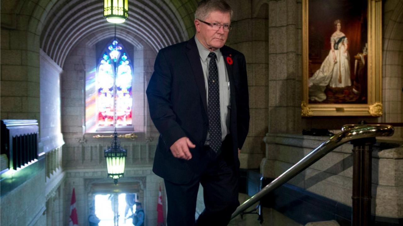 Senator Don Plett entering the Ontario legislature