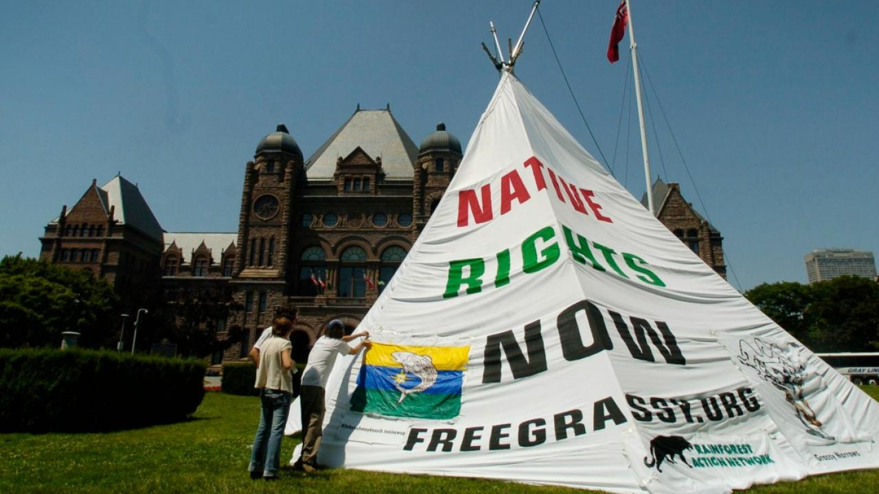 People put up a large teepee in front of Queen's Park