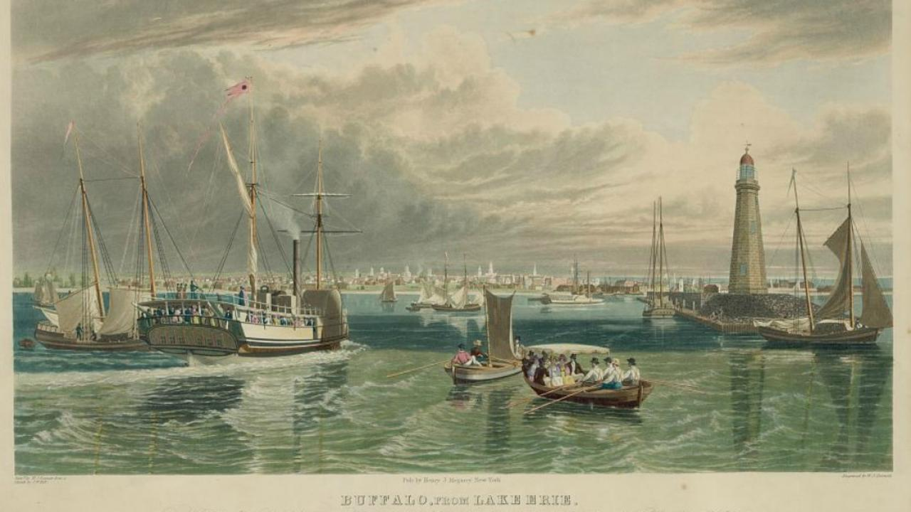An archived painting of Buffalo as seen from Lake Erie