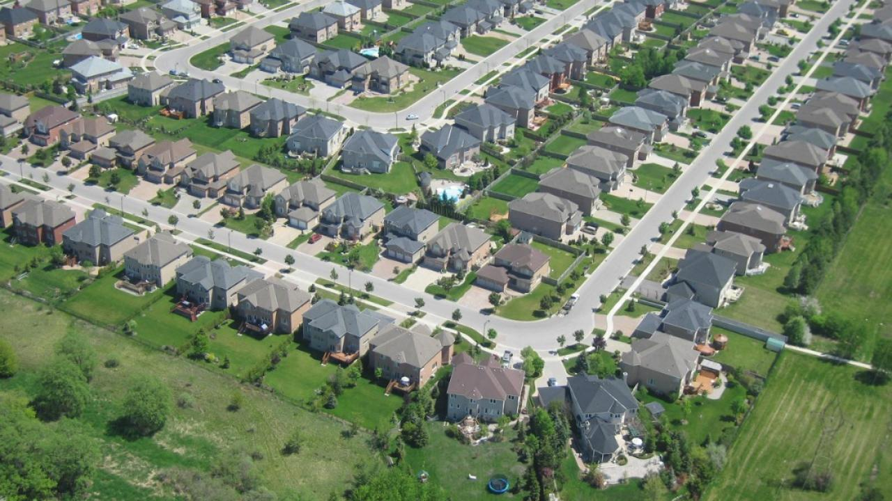 an aerial view of houses in an Ontario subdivision