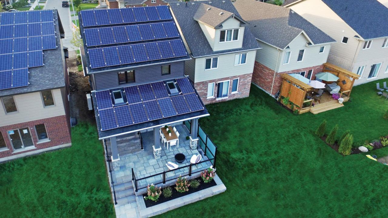 a home with solar panels