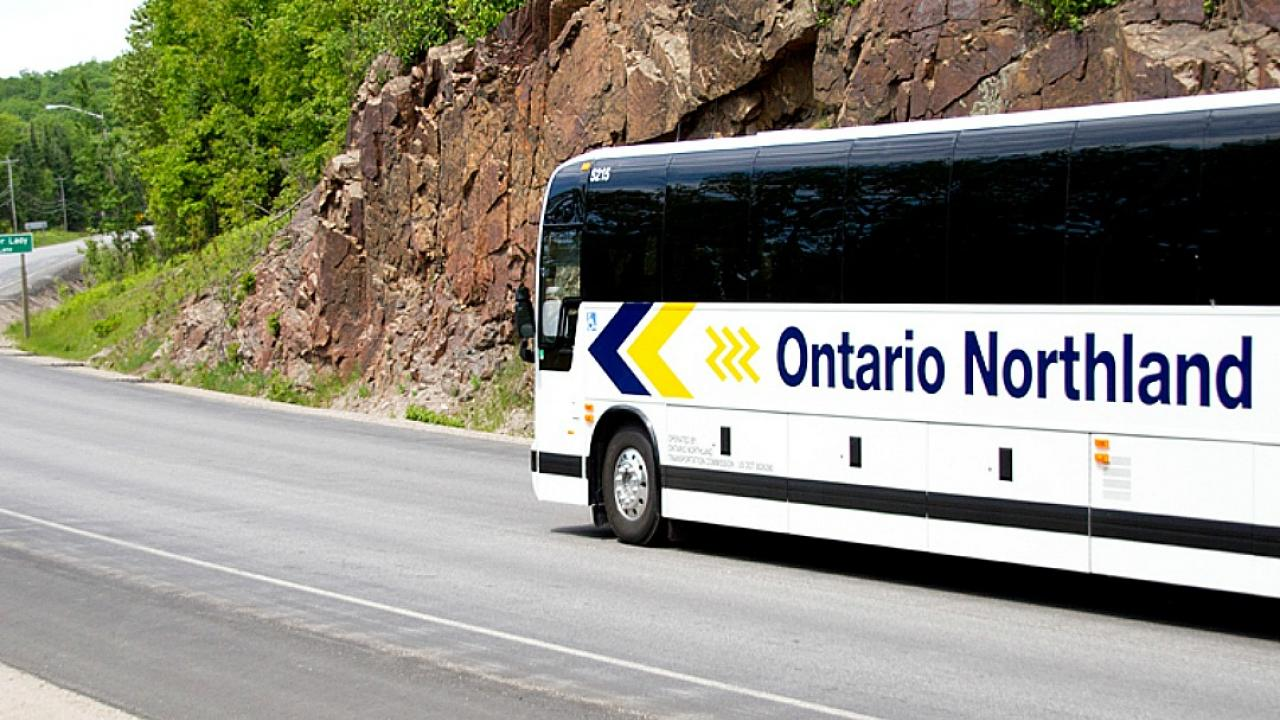 An Ontario Northland bus on a rural highway