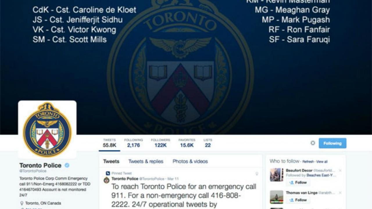 Toronto Police Service's Twitter page
