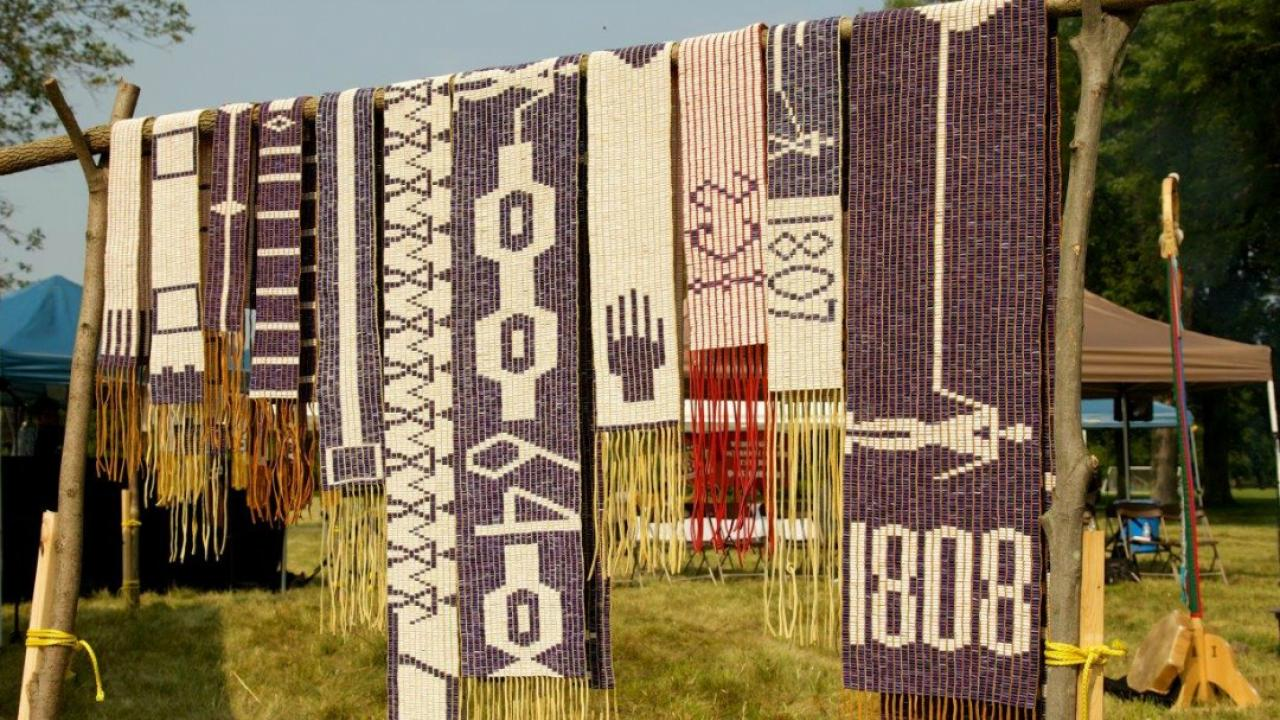Wampum Belts hanging to depict the 250th anniversary of the Treaty of Niagara