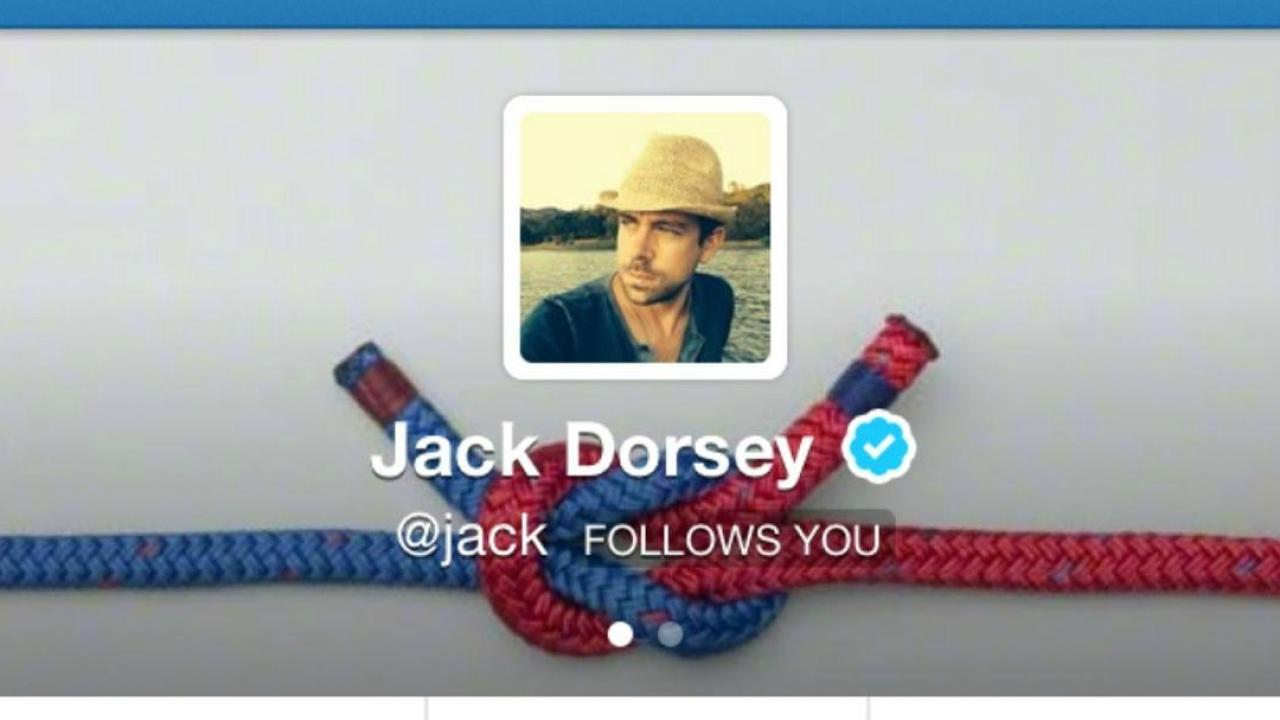 "Twitter co-founder Jack Dorsey's account that says, ""Jack Dorsey is now following you."""