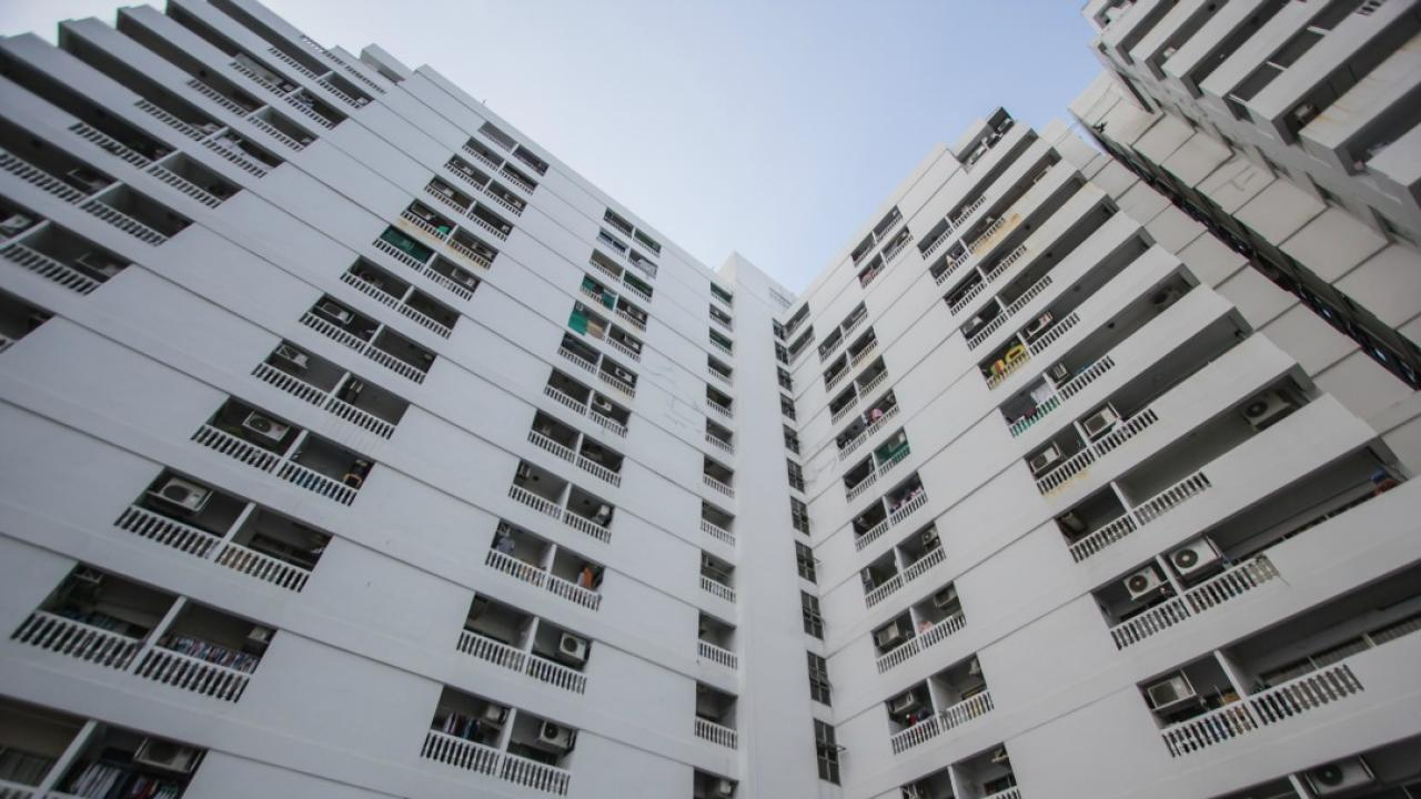 Image of tightly-packed together condo buildings.