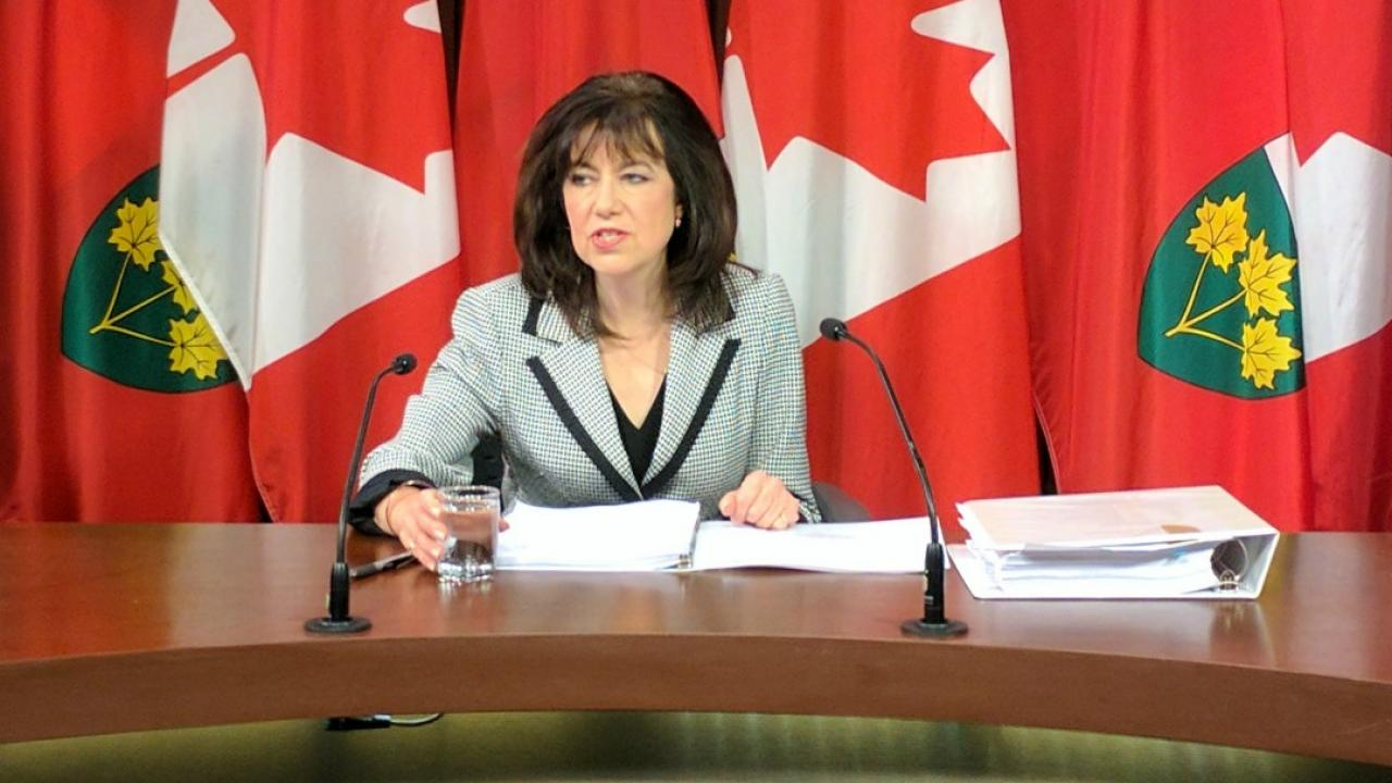 Bonnie Lysyk, Ontario's auditor general, sits in front of flags presenting her annual report