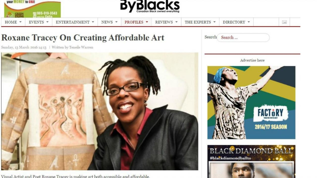 screengrab of byblacks.com website featuring a female entrepreneur