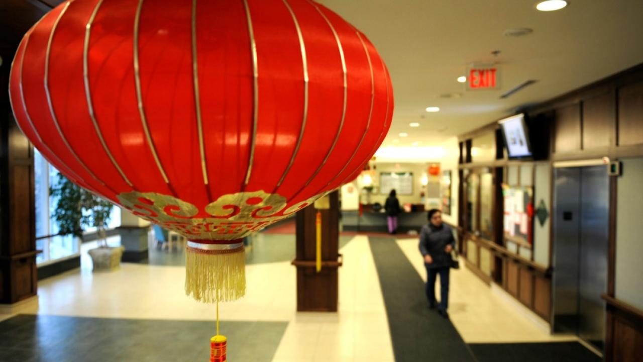 a New Year's decoration hangs from the ceiling in a Chinese nursing home in Ontario.