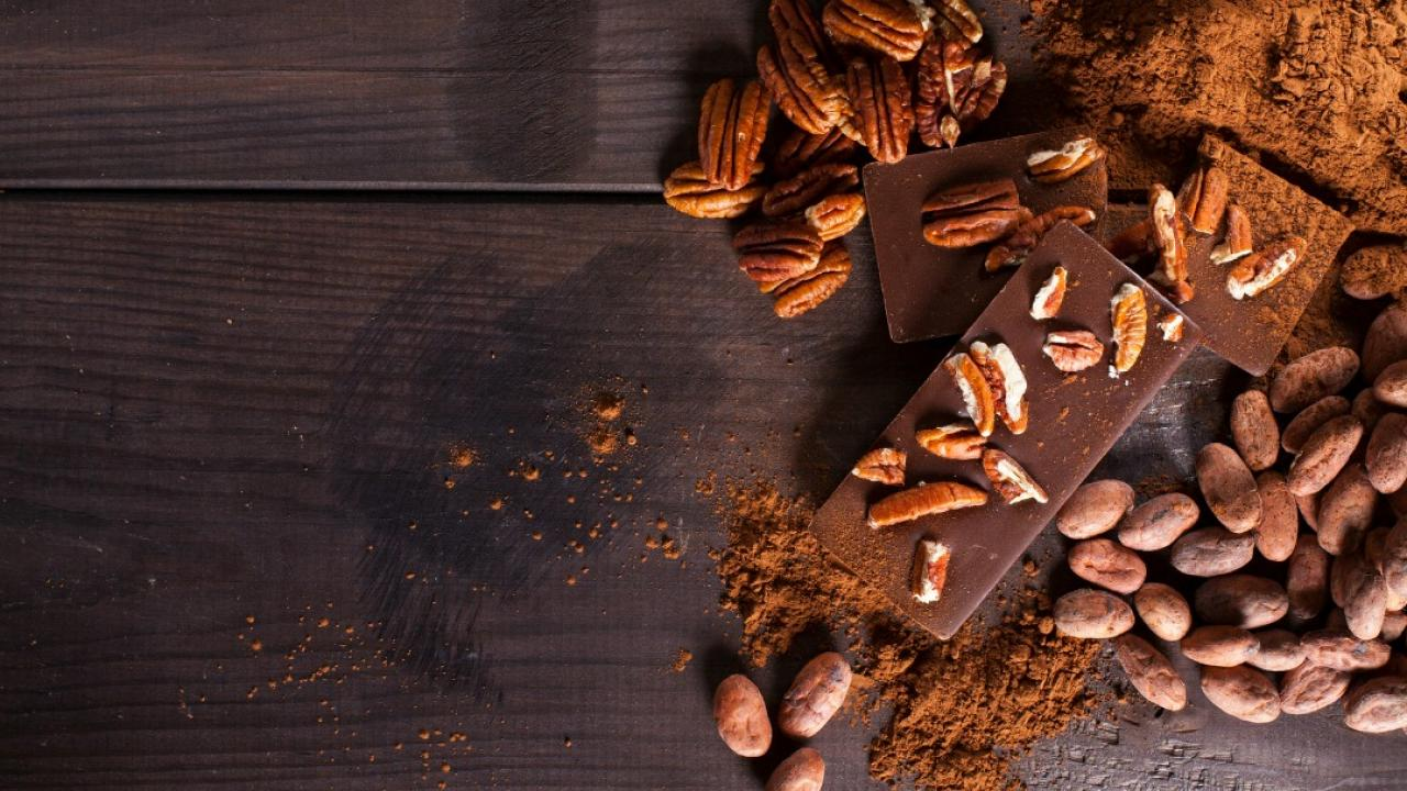 chocolate, cocoa beans and pecans