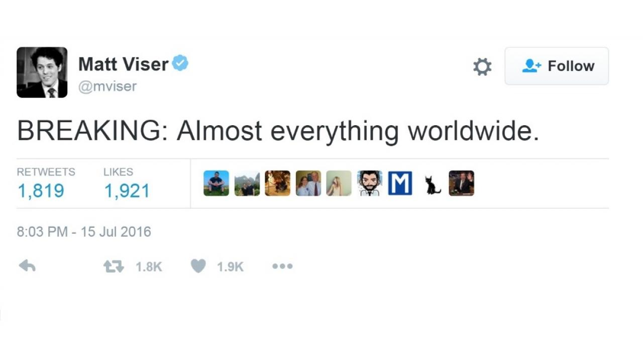 a tweet that reads: breaking: almost everything worldwide