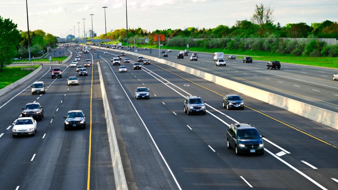 cars driving on a busy highway