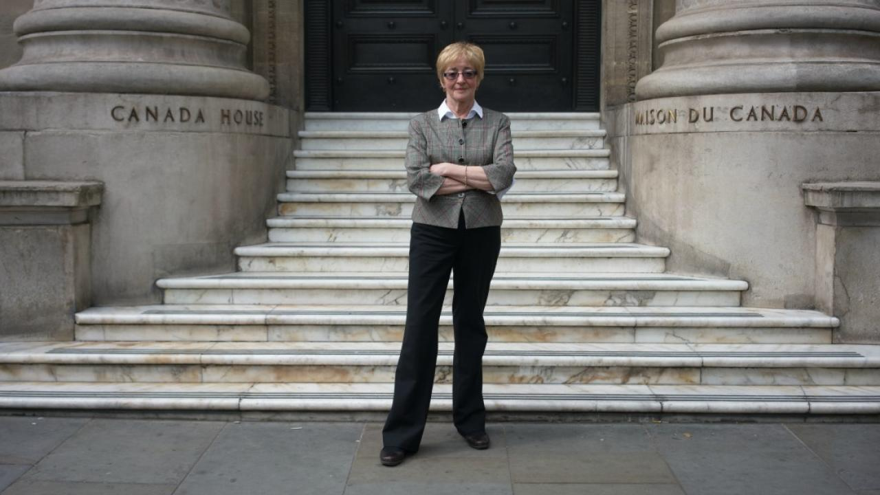 Maude Barlow stands outside Canada House in London, England