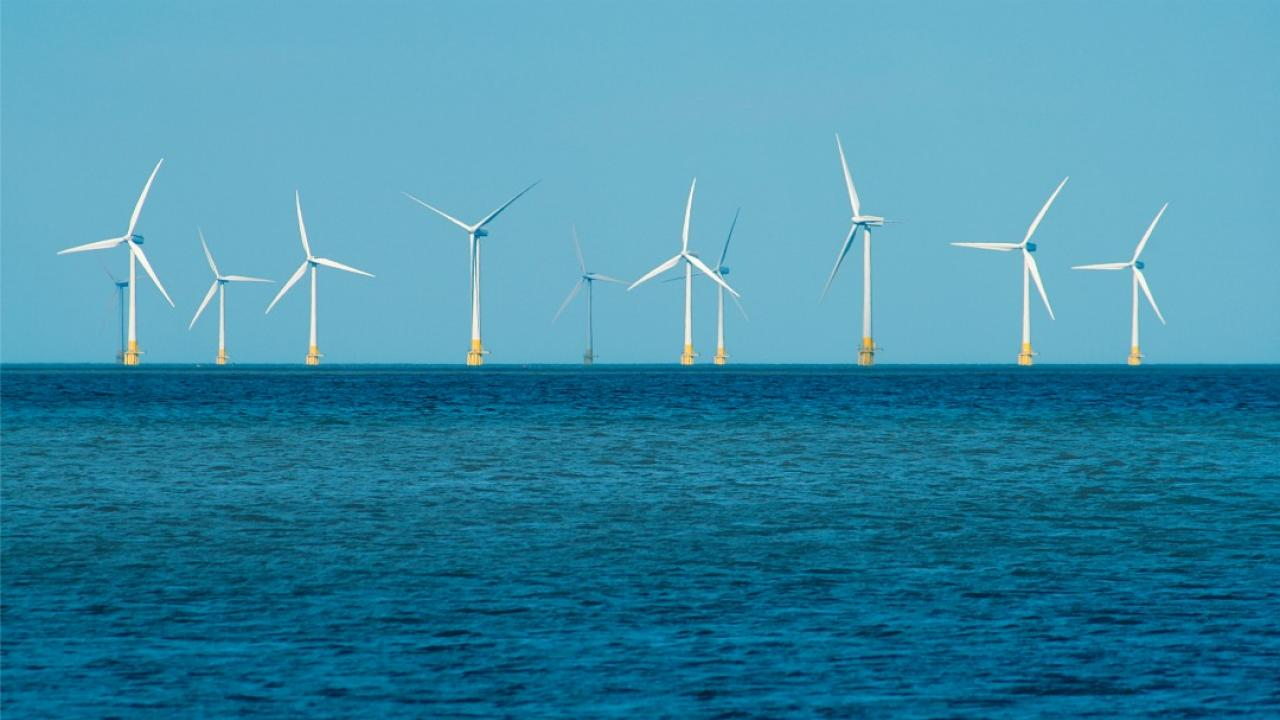 an offshore wind farm showing several wind turbines