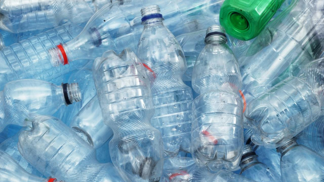 a pile of discarded plastic bottles