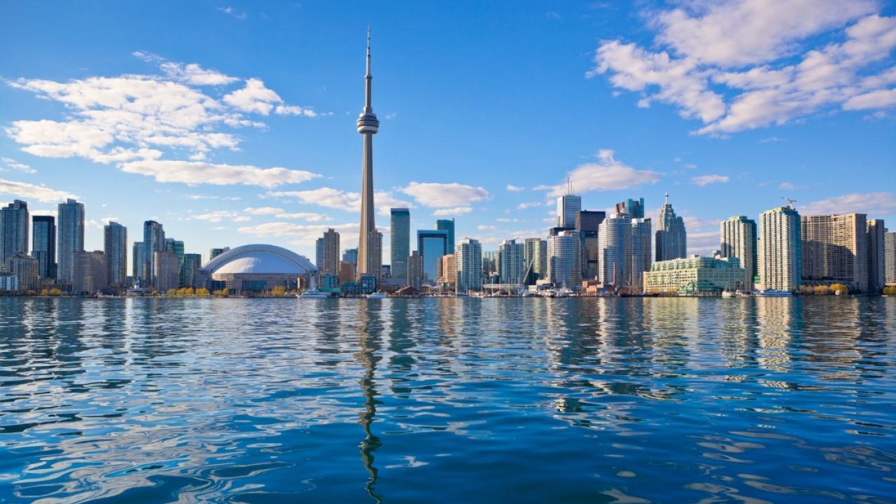 City of Toronto skyline from across the lake.