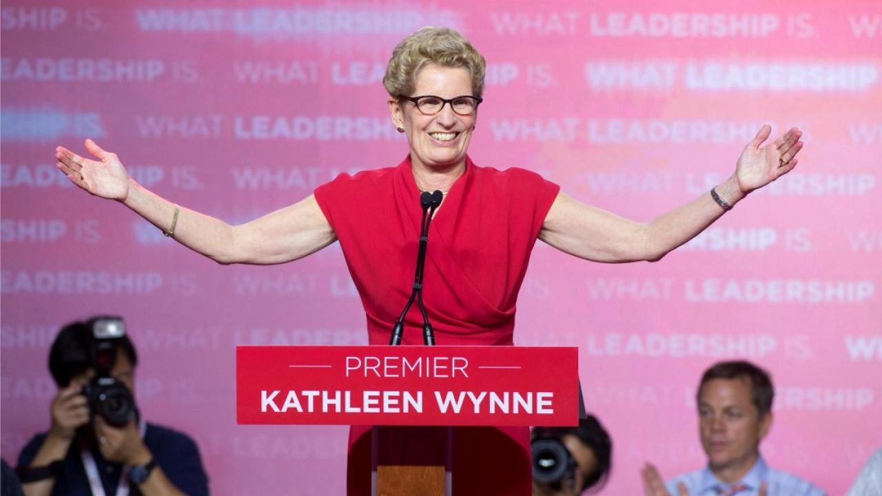 Kathleen Wynne giving a victory speech on the night of the 2014 Ontario election