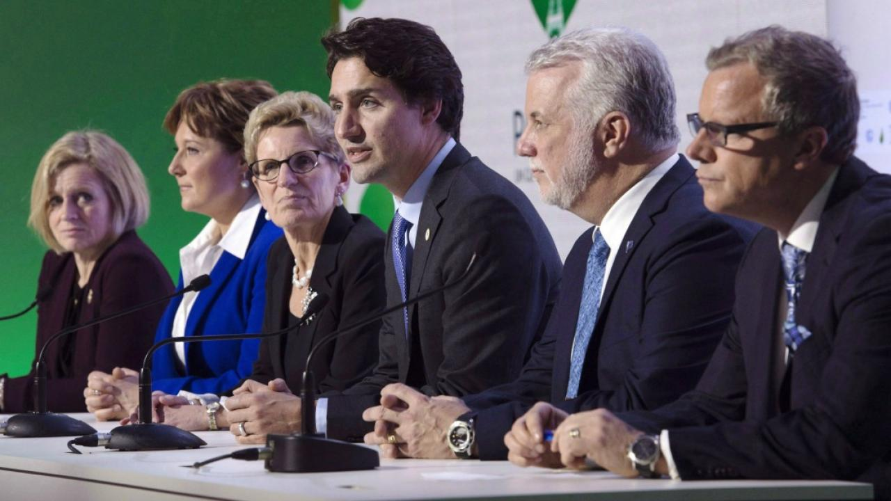 Rachel Notley, Christy Clark, Justin Trudeau, Philippe Couillard and Brad Wall.