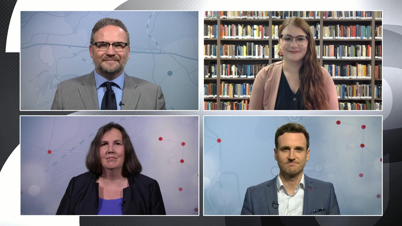 TVO.org reporters discuss the federal-election results on The Agenda on October 22. Clockwise from top left: Jon Thompson, Shelby Lisk, David Rockne Corrigan, and Mary Baxter.