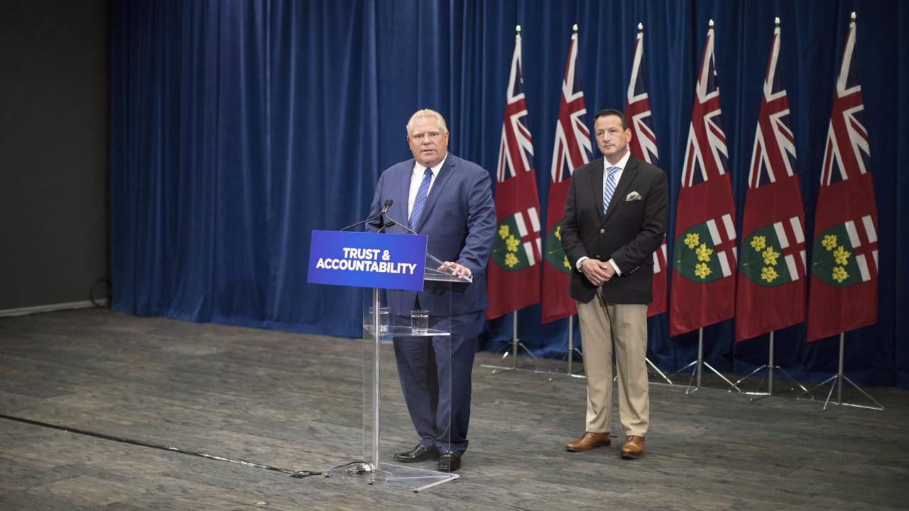 Doug Ford at a podium
