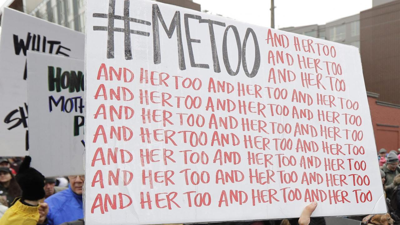 #metoo placard at a women's march