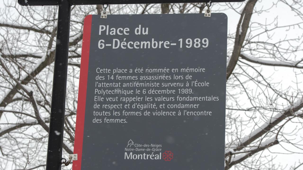 Montreal Massacre commemorative plaque