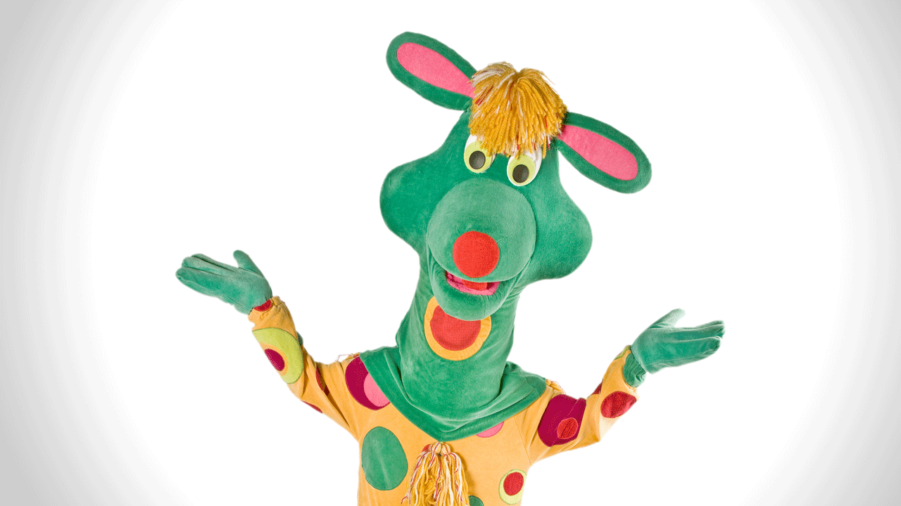 Polkaroo mascot resembling a large, multi-coloured kangaroo.