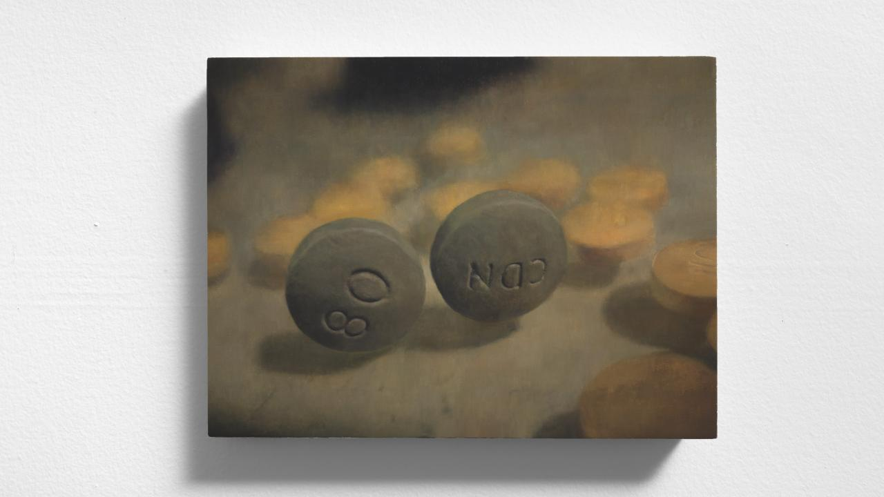 Painting representing two prescription pills.