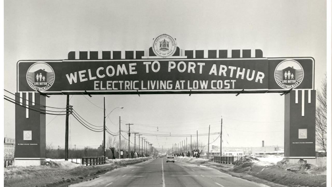Welcome to Port Arthur sign