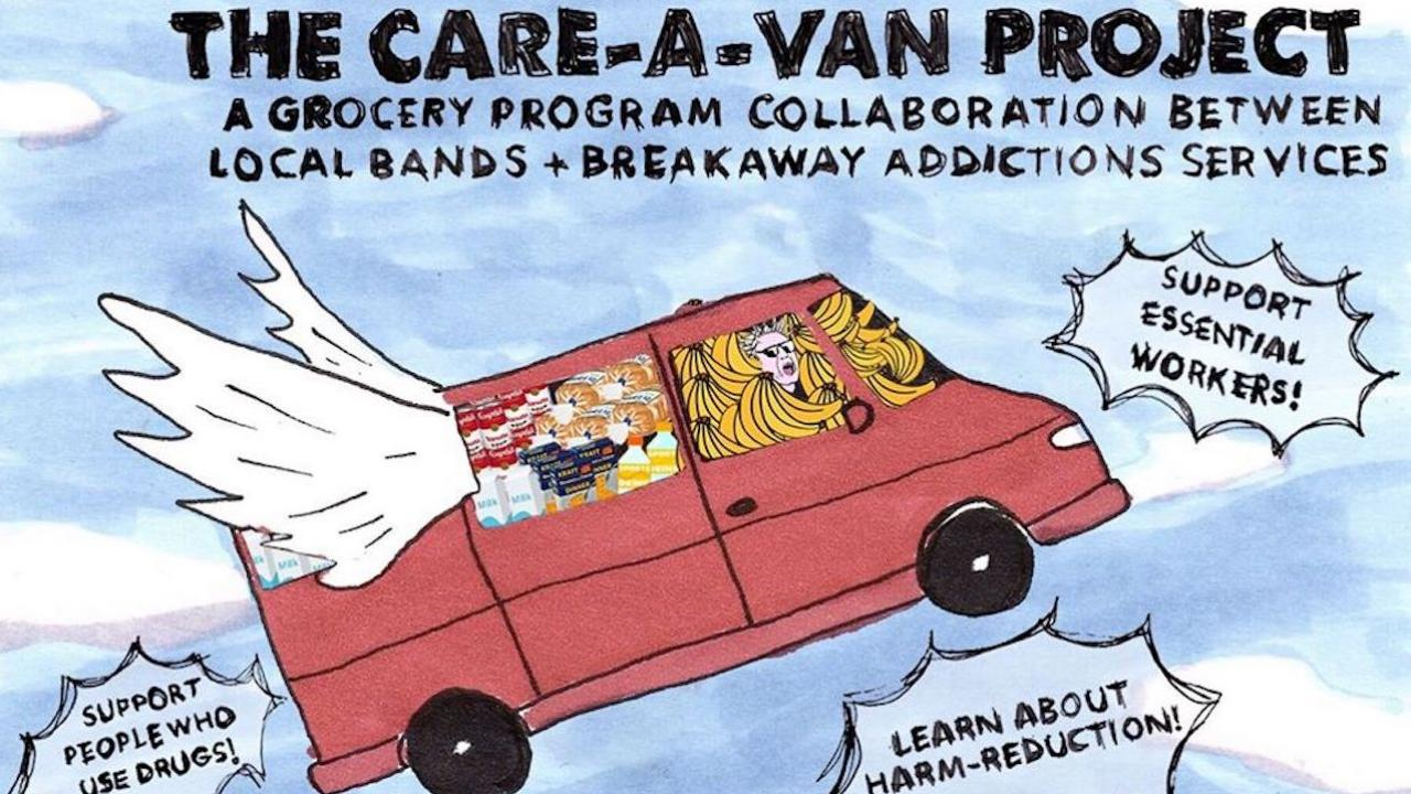 cartoon of a van with wings, with information about the Care-A-Van initiative