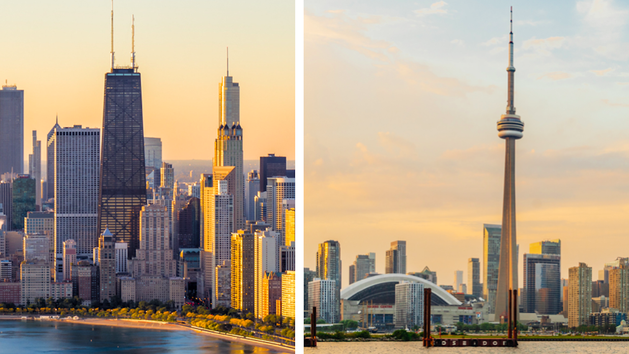 two shots of different city skylines