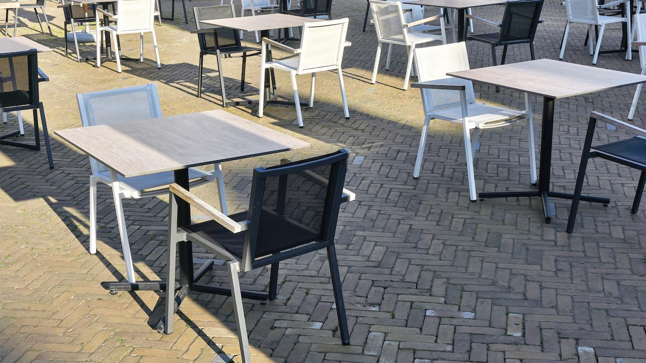 physically distanced patio seating