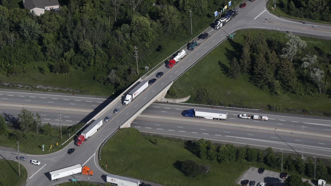 Arial view of a highway and overpass