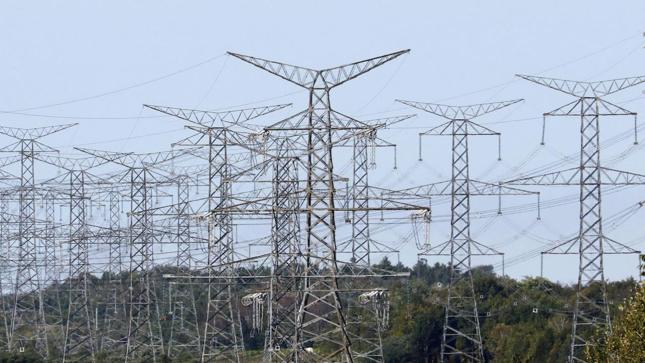 a cluster of power transmission lines