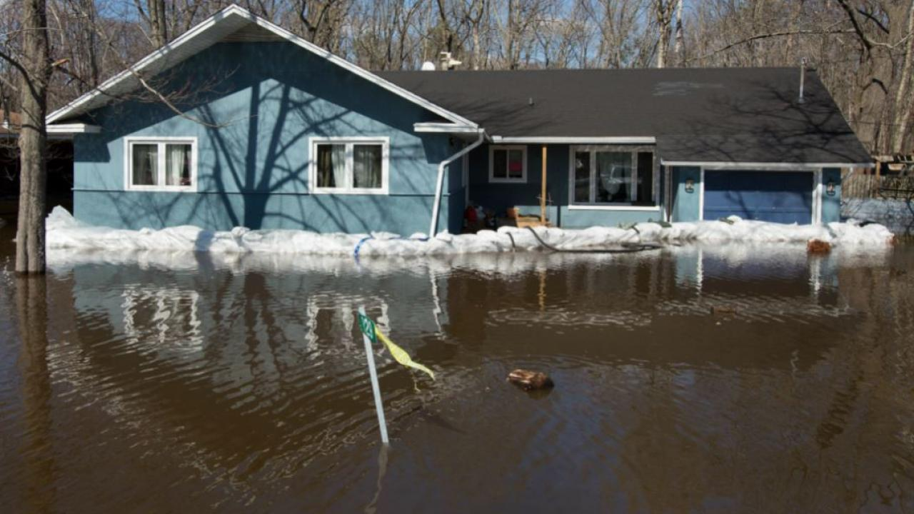 a house in a flood