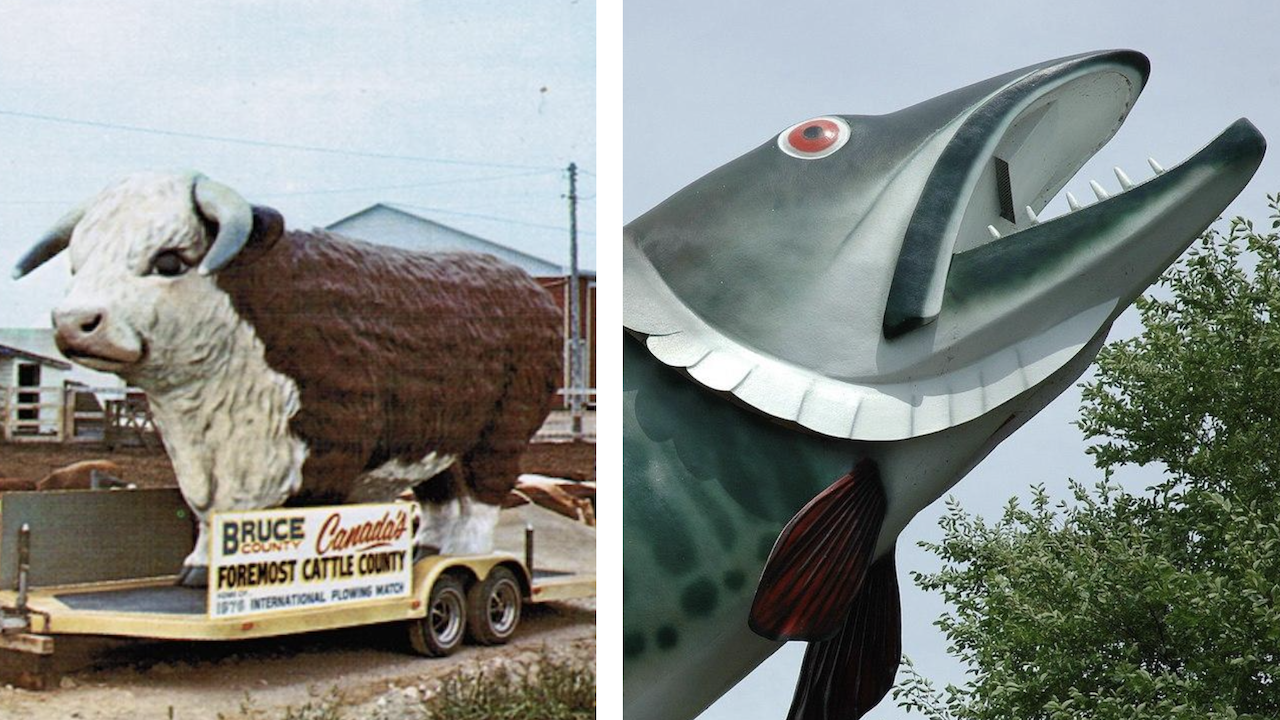 left: statue of a giant bull; right: statue of a giant fish