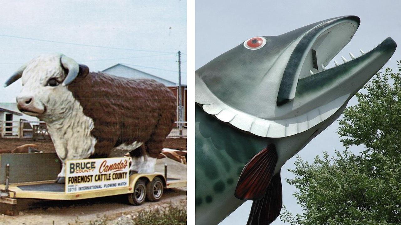 left: giant bull statue; right: giant fish statue