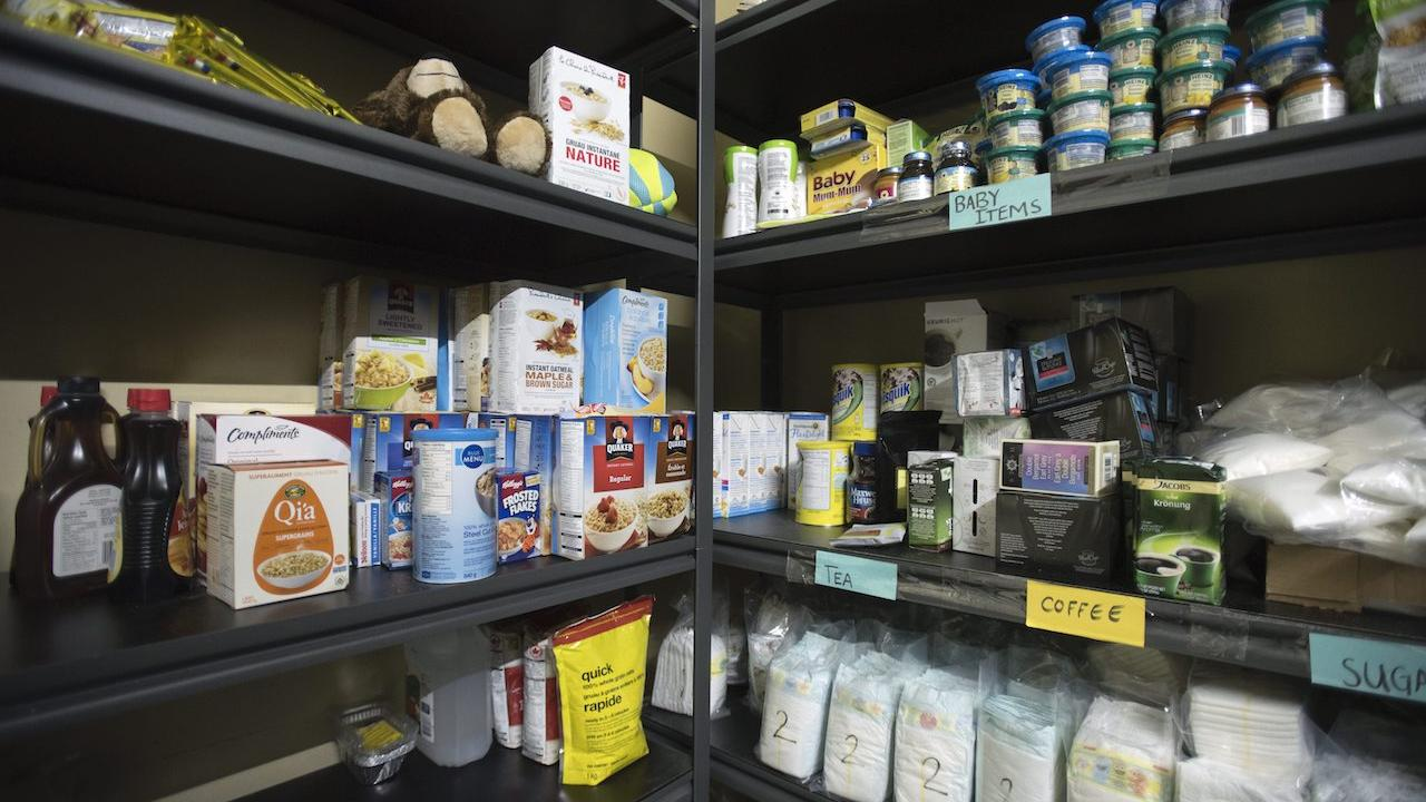 shelves at a food bank