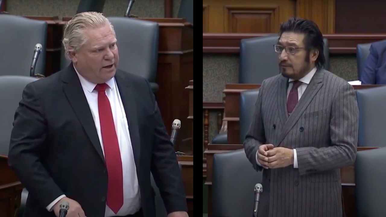 two photos, side by side, of men talking while wearing suits