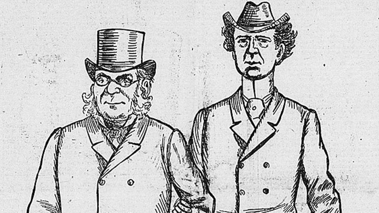 cartoon showing two men in hats
